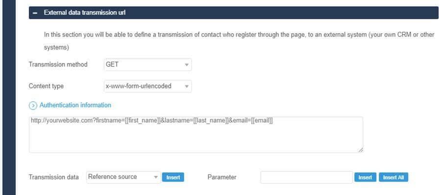 External data transmission url