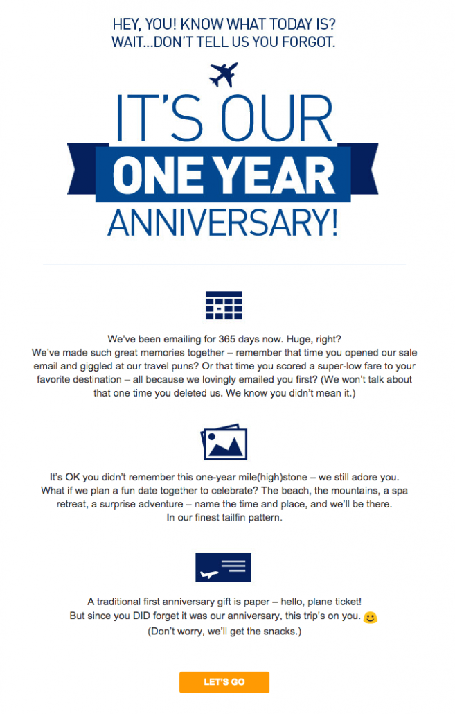 JetBlue email campaign