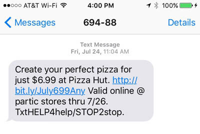 Pizza Hut SMS Discount